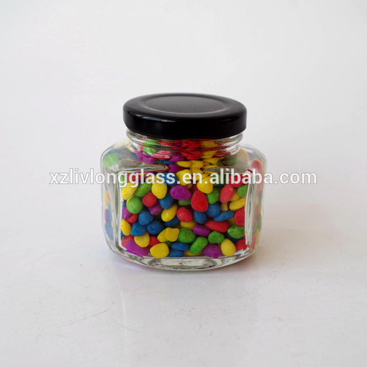 wholesale mini oval hexagon candy jar 100ml glass jam jar with lug lid Featured Image