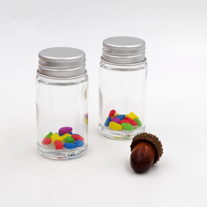 3.5oz  round straight slide glass bottle vial penicillin mini candy jar with aluminum screw lid 110ml for herb weed