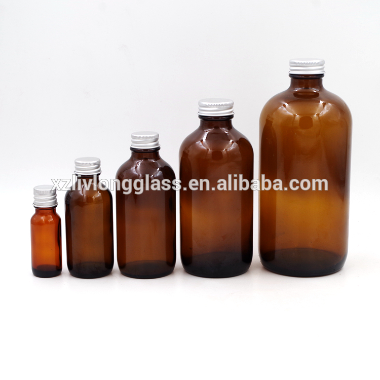 Amber Boston Round Shape Pharmaceutical Glass Bottles With Aluminum Lids