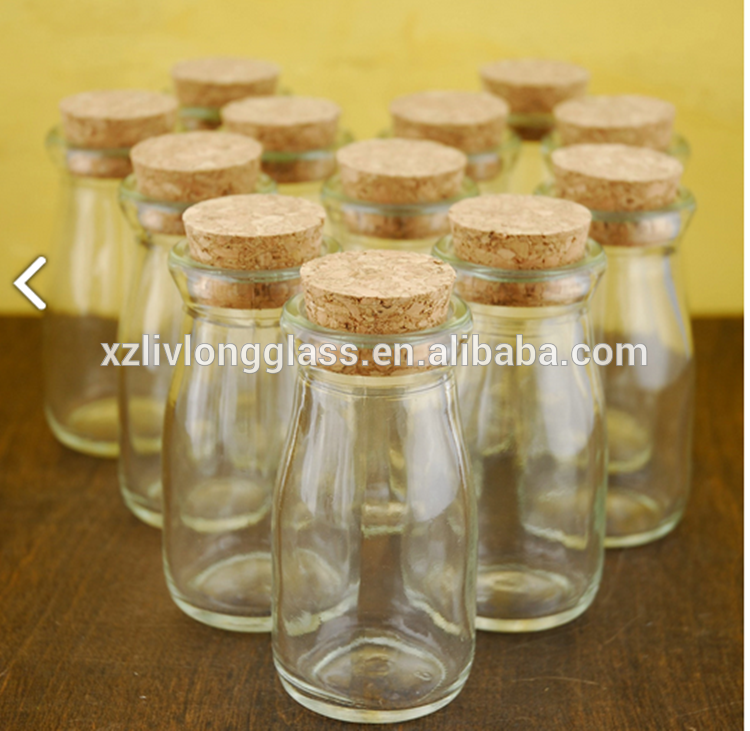 mini milk glass bottle with cork stopper