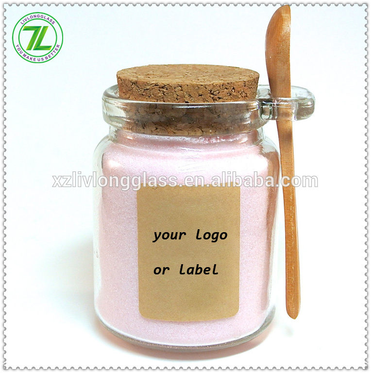 240mL Clear Glass Jar with Cork Lid and Wood Spoon 8oz Wholesale Glass Jar with Spoon Attached
