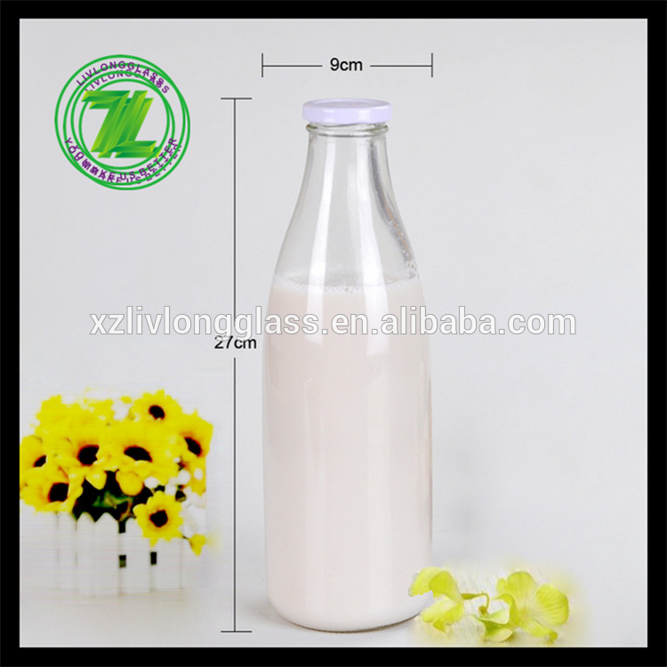 500ML CLEAR GLASS MILK BOTTLE PLASTIC CAP