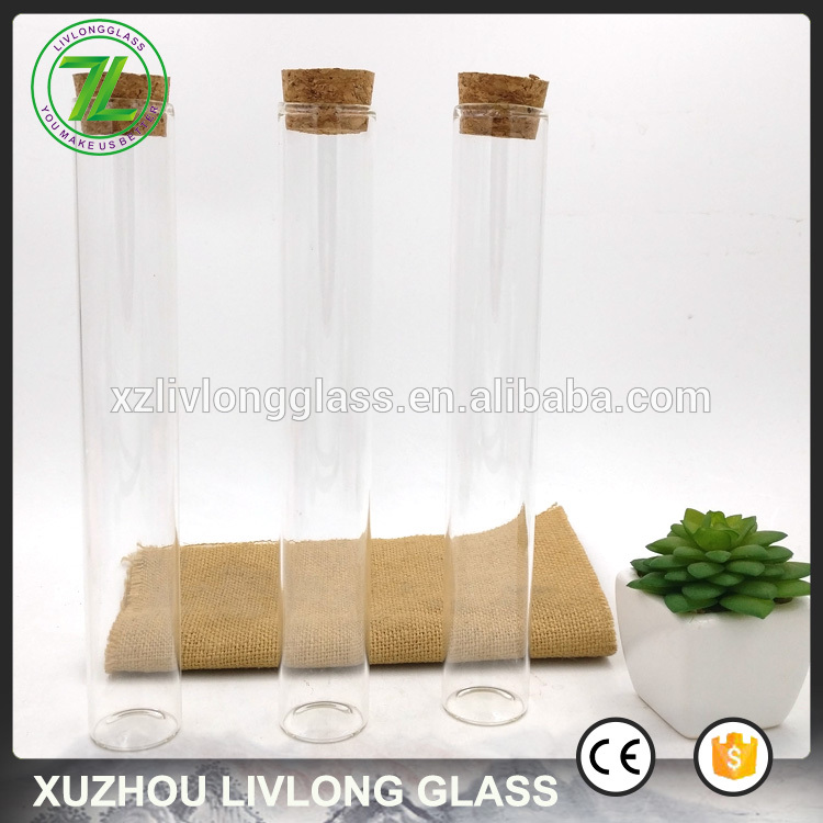 custom design 100ml spice bottles 4oz clear glass tube with cork lid
