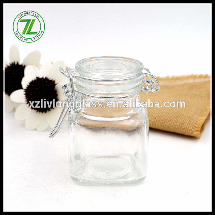 customize 3oz mini storage jar 100ml square glass jar with flip lids