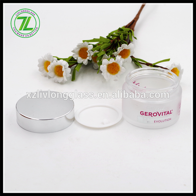 50ml logo printed cream jar glass with liner and silver cap