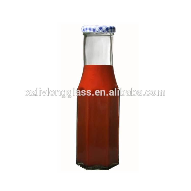 8.5 oz 250 ml Hexagon Tall Clear Glass Decanter Sauce Bottle with Gold Lid Featured Image