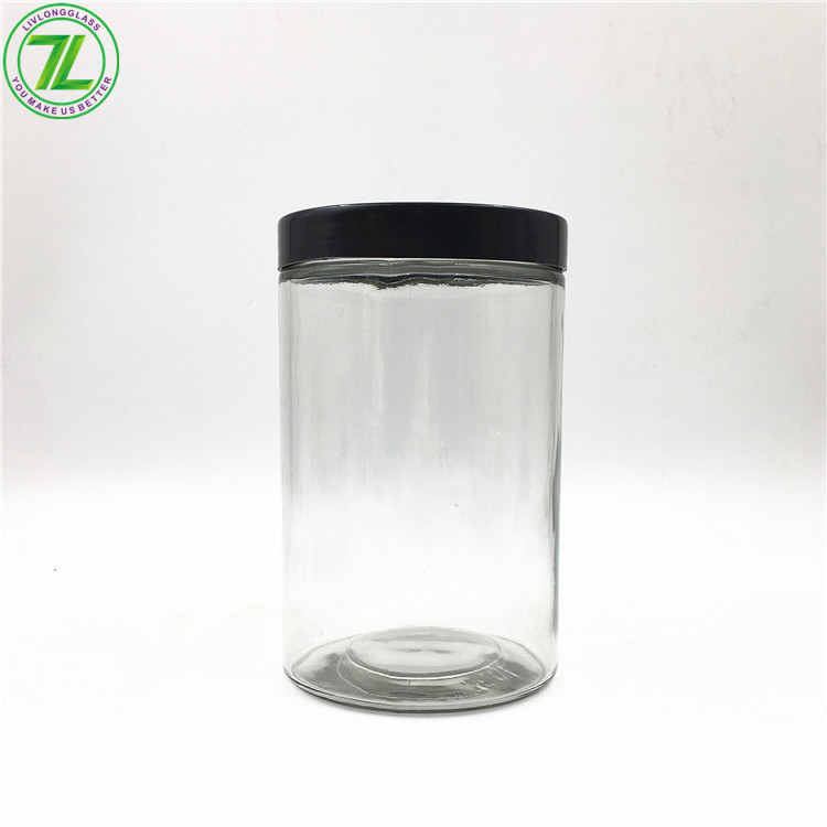 1000ml Glass Straight Sided Package Jar With Lid
