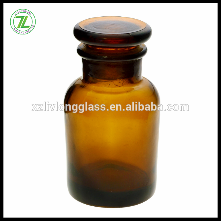 Amber Watertight Chemical Reagent Glass Bottle with Stopper