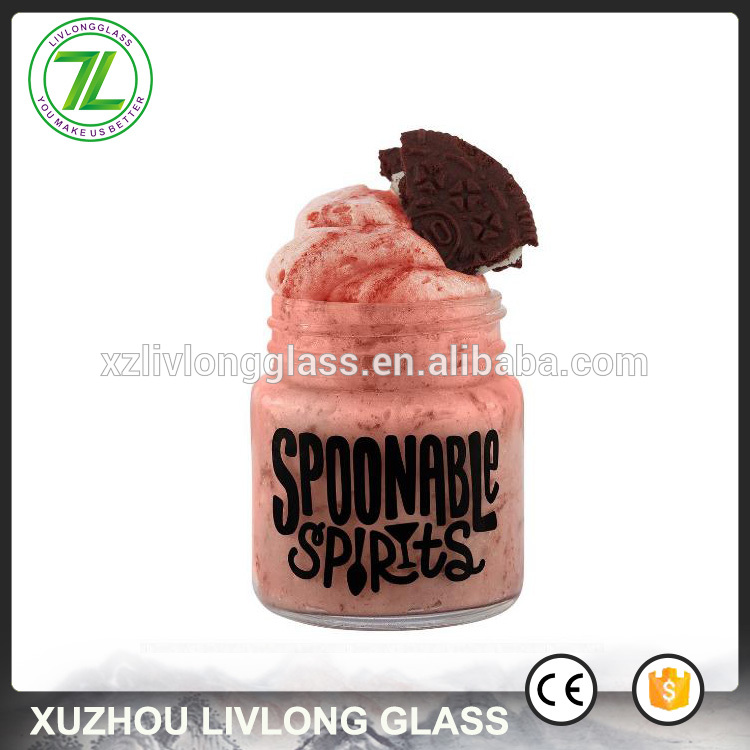 small sweets glass bottle 50ml 2oz mason mini jars with silver lids and custom printed logo