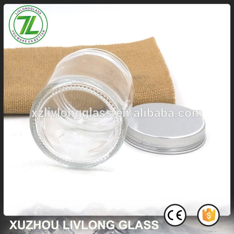 customize 120ml nuts and dried fruits bottle 4oz vacuum glass foods jar with aluminum screw lids