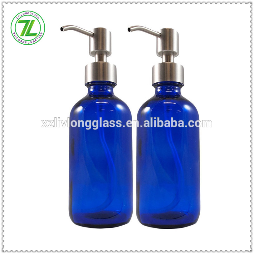 8oz Cobalt Blue Glass Boston Pump Bottles Glass Essential Oil Bottles, Glass Lotion Bottle with Stainless Steel Pumps