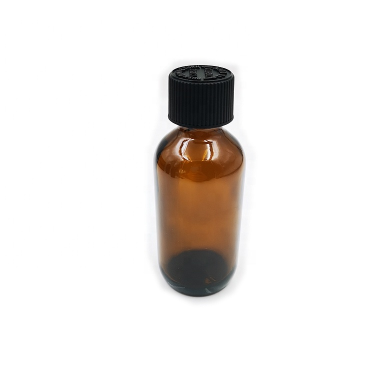 60ml 2 oz  Amber Boston Round Essential Oil Glass Bottles with Child Proof Caps