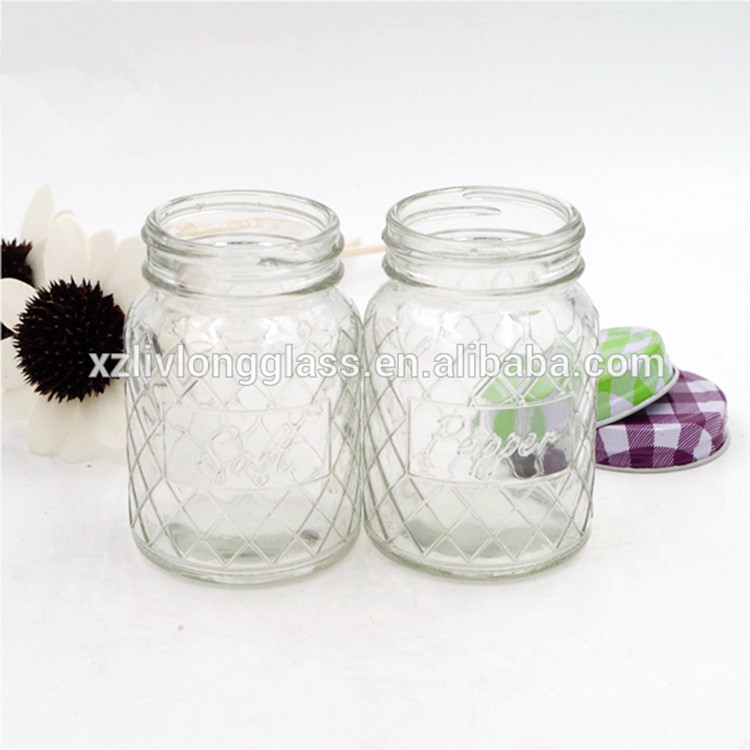 wholesale  4oz Mason Jar Glass Salt and Pepper embossed jar with cap