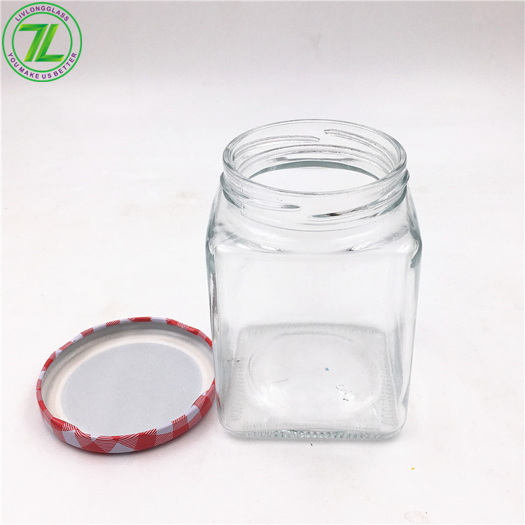 12oz Glass Square Straight Sided Jelly Jam Honey Jar With Cap