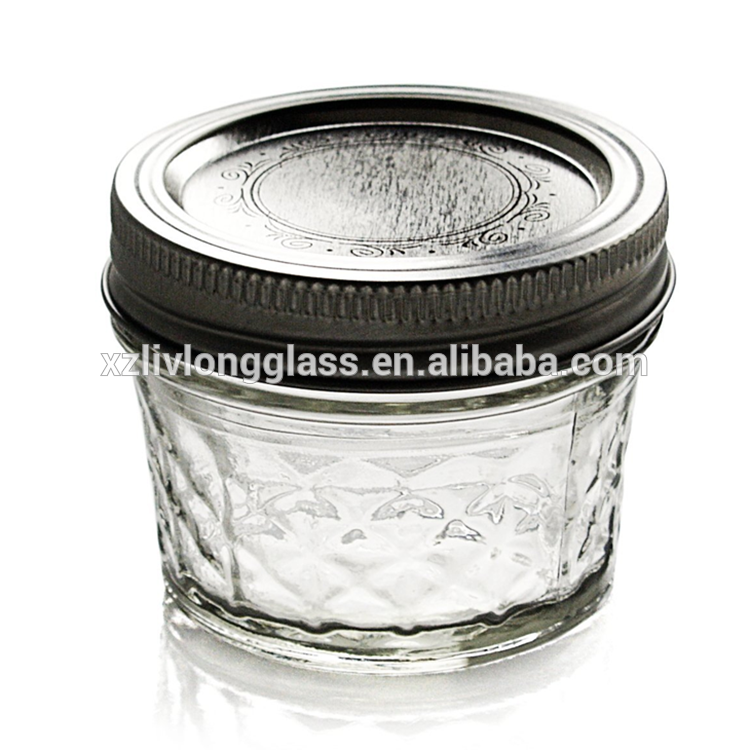 Round Jar Crystal Jelly Jars with Lids and Bands 4oz