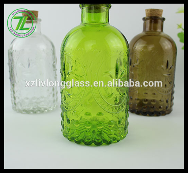 300ml coated color glass reed diffuser bottle with cork