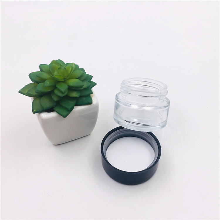 2oz 8oz Clear Glass Child Proof Jars Weeds Container With Child Resistant Cap