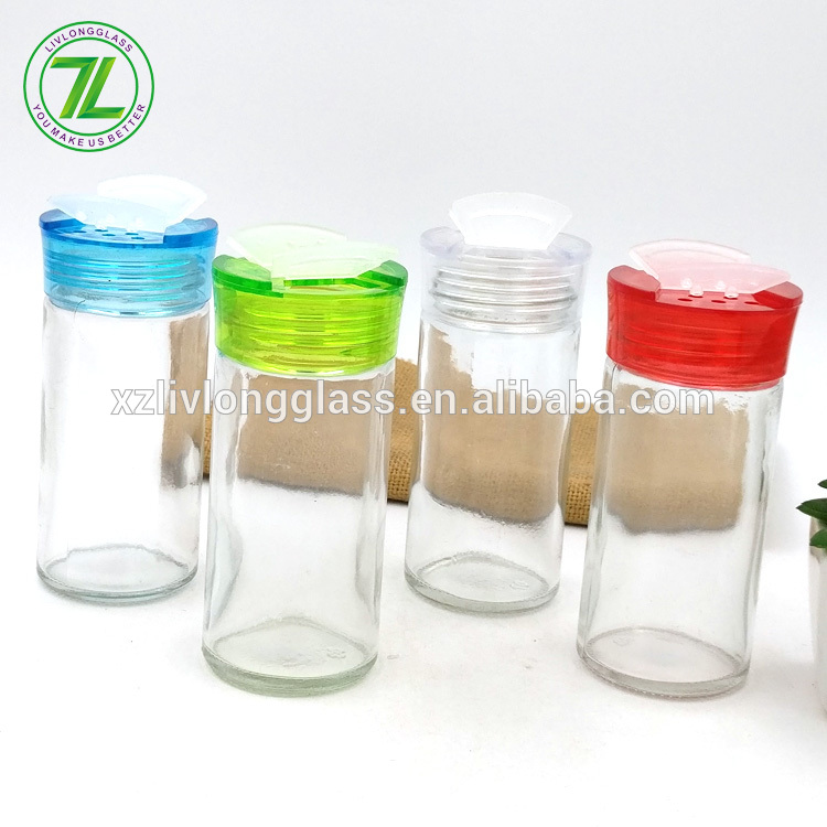 salt and herbs shaker 90ml 100ml pepper bottle 3oz 4oz glass round spices jar with colored plastic cap