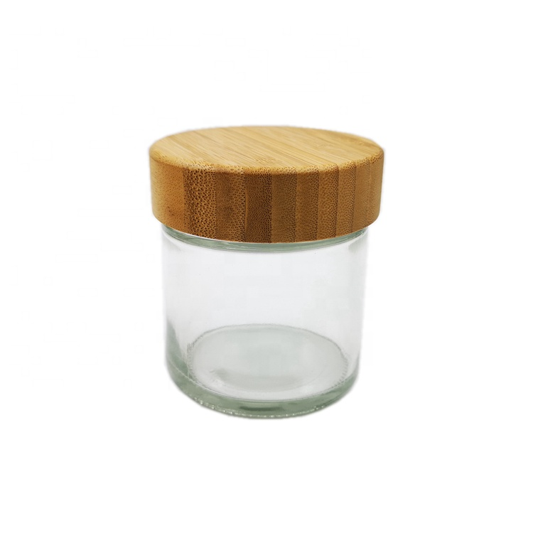 8 oz 240ml Straight Side Round Cosmetic Mason Hemp Storage Spice Glass Jars with Bamboo Top Lids