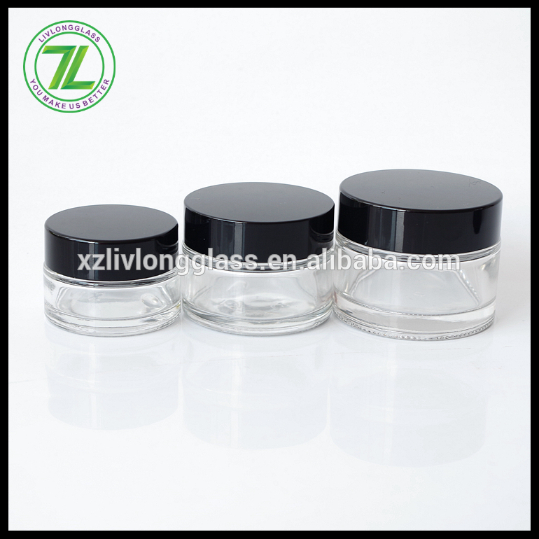 stocked wholesale straight sided 20ml 30ml 40ml glass cosmetic jar with ABS lid