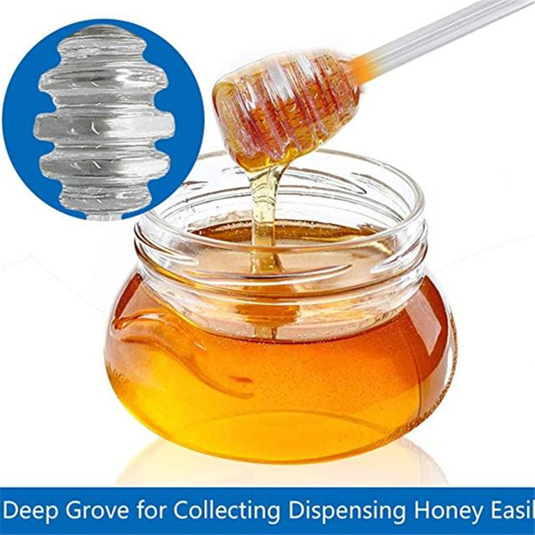 Handmade Borosilicate Honey and syrup dipper stick glass honey spoon for honey pot jar containers