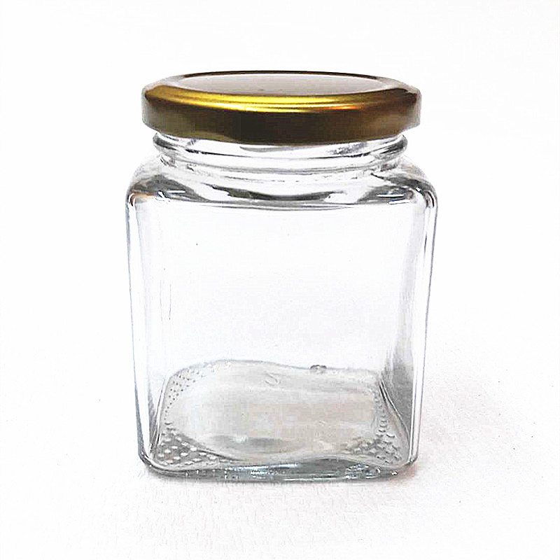 200ml 280ml 380ml high quality good price clear square honey storage glass jar with lug lid