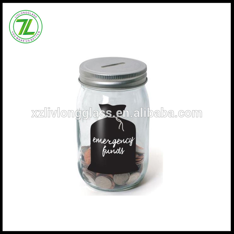 custom design 14oz glass mason jar 400ml coin piggy bank with metal lid and chalkboard label