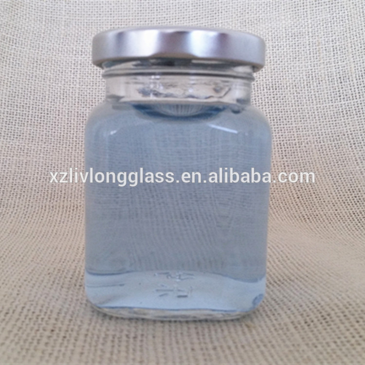 150ml 5OZ SQUARE GLASS JAM JAR MASON JAR SILVER LID