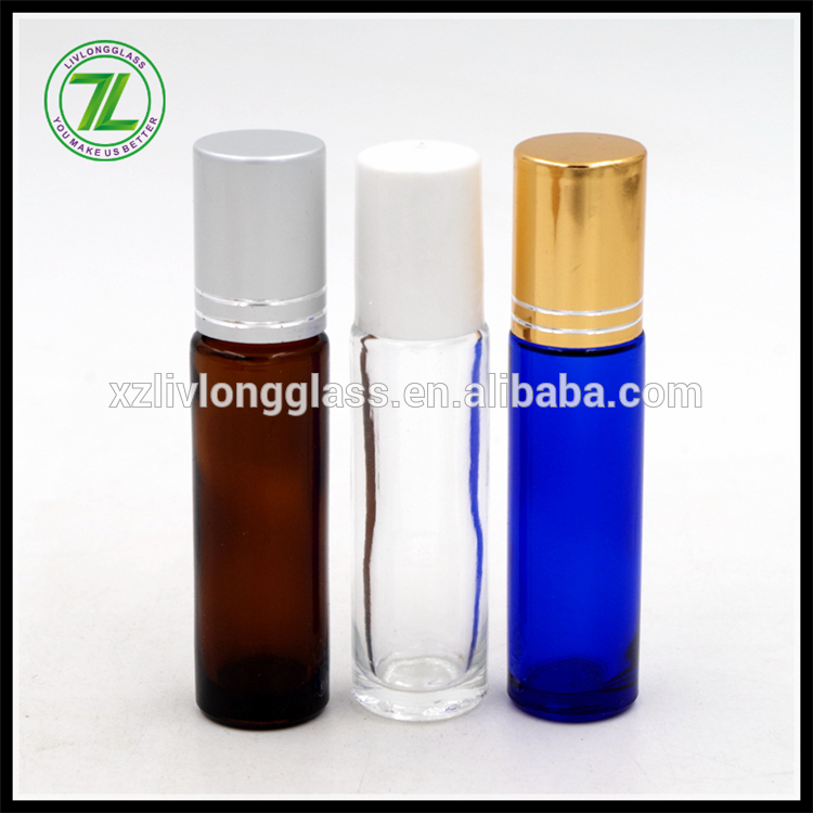 10ml amber cobalt blue glass deodorant roll on bottle with cap