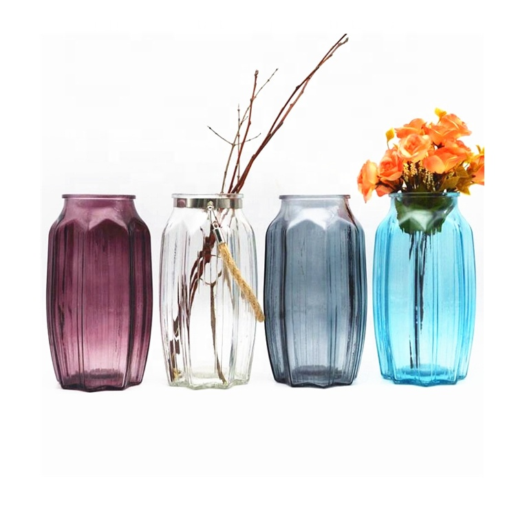 Factory made hot-sale Glass Lotion Bottles - Fancy Octangle Decorative Glass Vase for Flowers Arrangement – LIVLONG