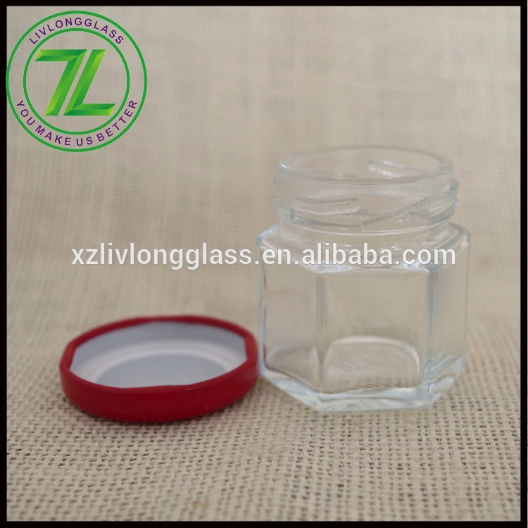cheap price 30ml 1oz mini empty clear glass honey jar with lid and stickers
