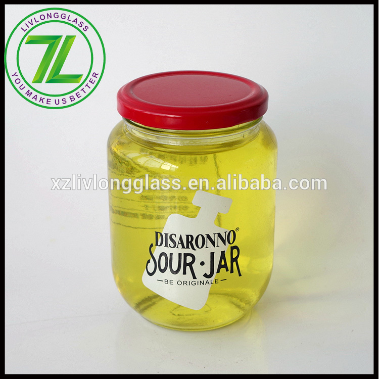 customize fancy designs 430ml iced tea drinking jar 15oz glass sour jar with metal lid