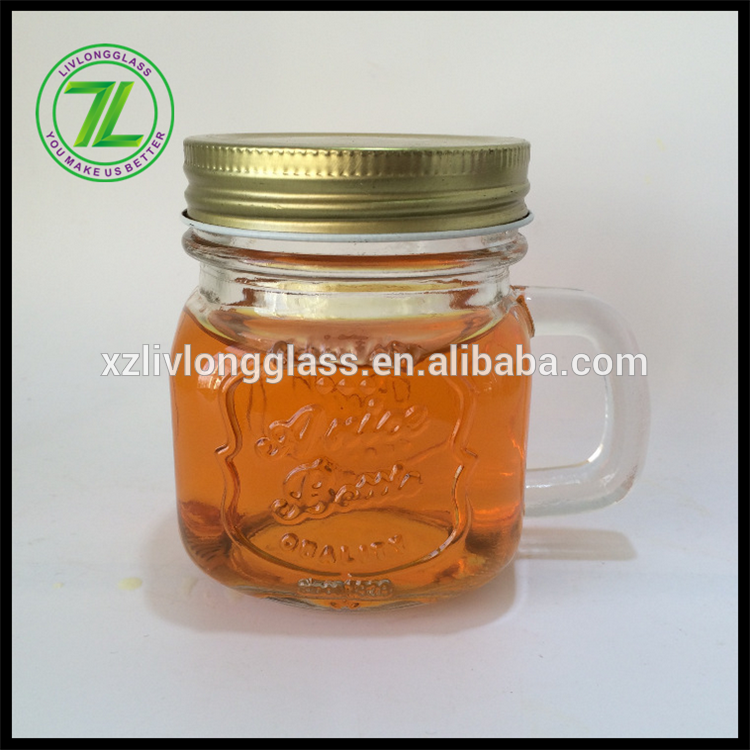 China Supplier Glass Bottle With Roller - 250ml glass jar mug with handle and screw lid – LIVLONG