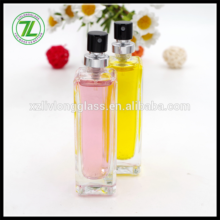 tall square glass 30ml perfume bottle with pump sprayer