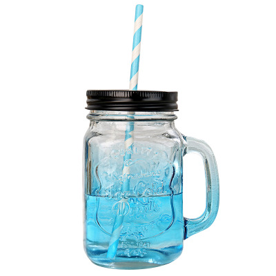factory direct free samples 450ml square juice jar 15oz clear glass mason jars with handle and straws wholesale