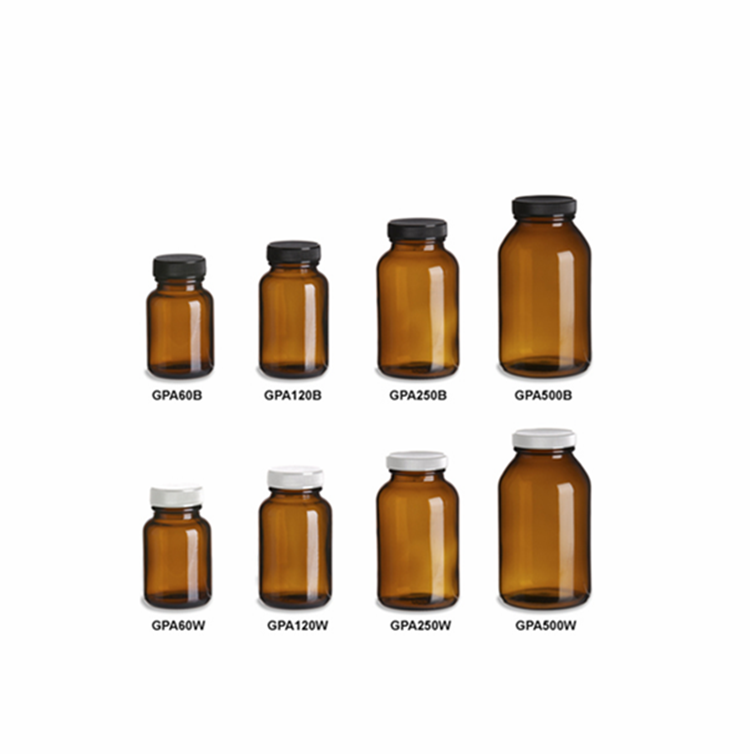 factory amber pill spell tablet loading glass bottle farm chemical pesticide bottle with plastic screw lid for medicine powder