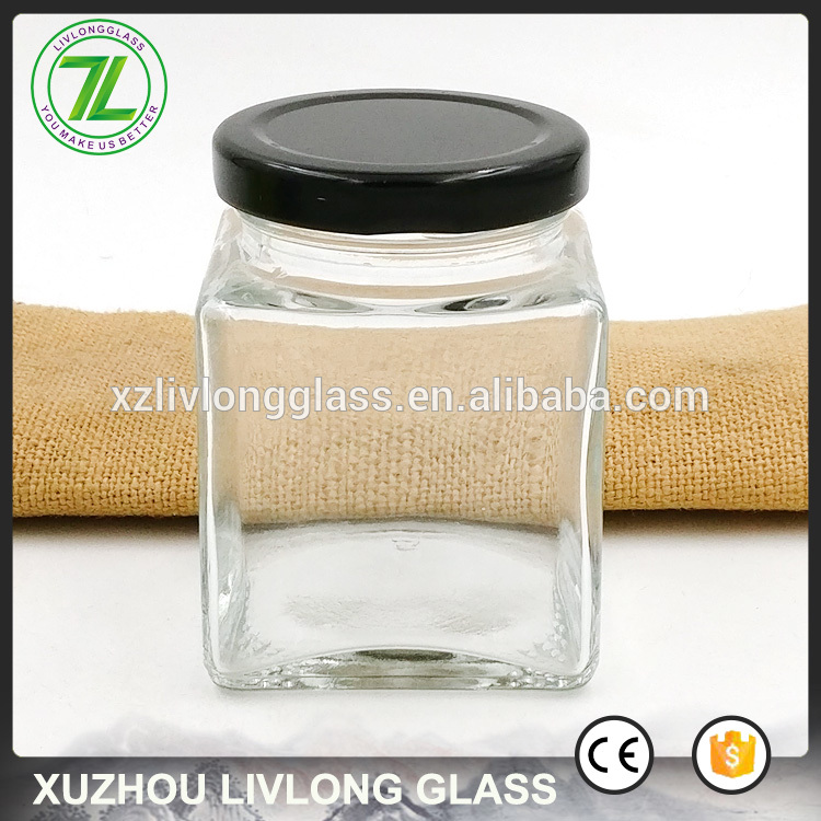 cheap price 180ml food storage bottle 6oz airtight glass square jar with black lid