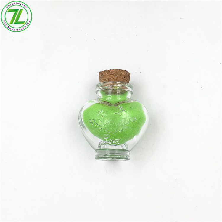 1oz Heart Shaped Glass Bottle Candy Jar With Cork Or Screw cap