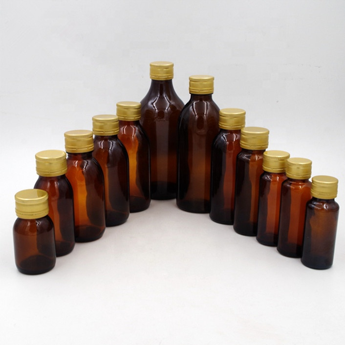 cheap stock tube amber tablet oral liquid solution glass bottle farm chemical pesticide bottle with aluminum hermetic screw cap