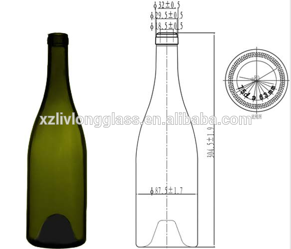 750ml Green Burgundy Wine Glass Bottle with Cork
