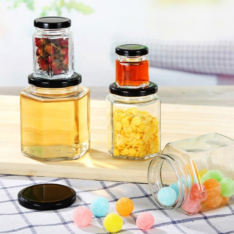 wedding party jam and honey use 45ml small honey packaging jar 1.5oz empty glass Hexagon bottle with metal black twist off lids