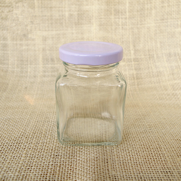 clear mini small 60ml square dry food  glass mason jar honey bee  glass jar with metal screw silver  lid 2oz  for jam sauce