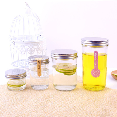 hot sale 100ml-500ml Caviar jam honey clear round glass bottle with vacuum sealed cover