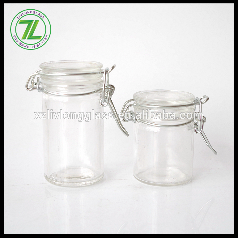 2oz 1.5oz glass clip top spice herb jar