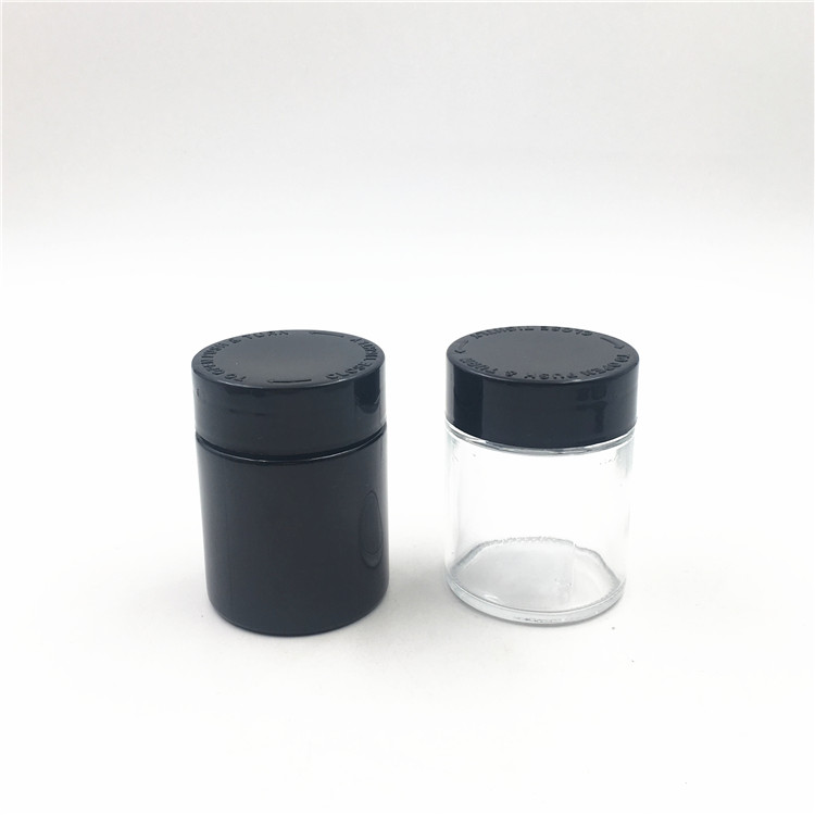 7ml Childproof Black Violet UV Glass Jar With Child Resistant Lid For Weeds CBD