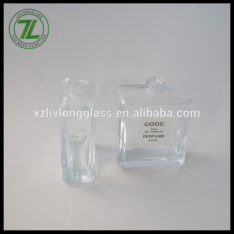 50ml flat square paris perfume bottle with pump sprayer