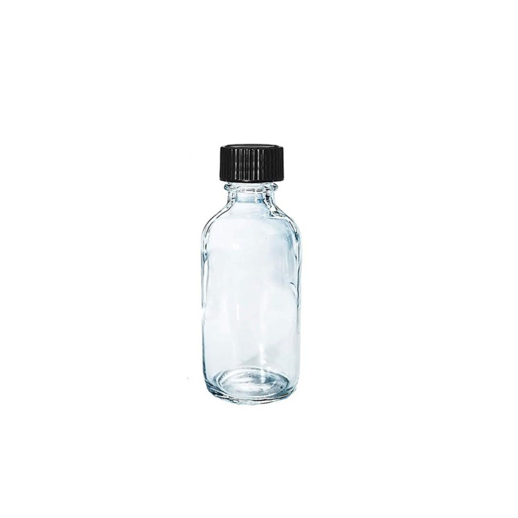 16oz Clear Glass Boston Round Dispenser Bottles With Plastic top