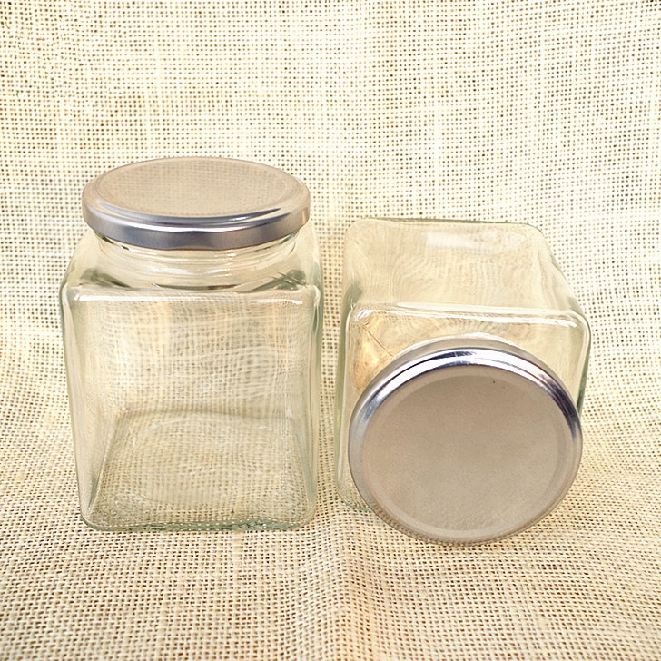 hot sale  cheap 200ml square dry food  glass mason jar honey bee  glass jar with metal custom design lid 6oz  for jam sauce