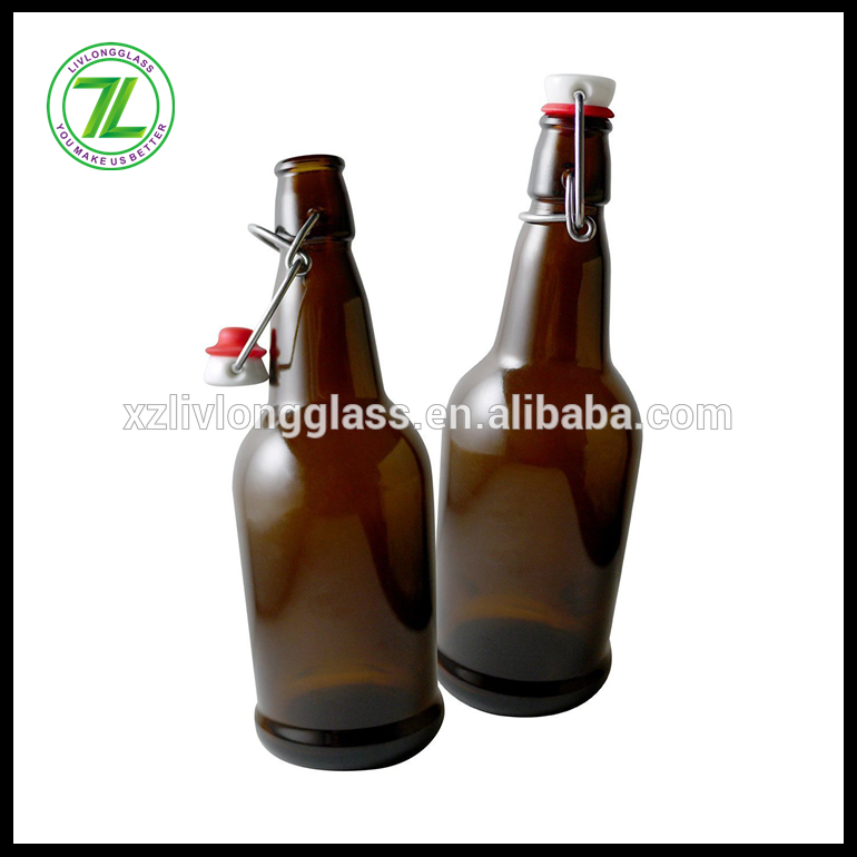 16 oz Glass Grolsch-Style Beer Brewing Fermenting Bottles With Swing Top Caps