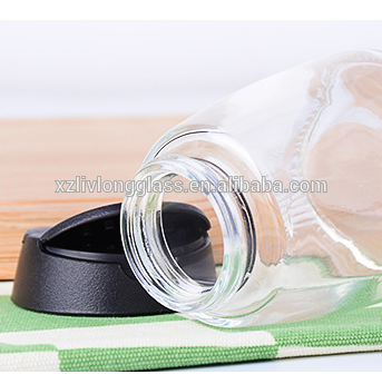 150ml Clear Glass Spice Jars with Black Sifter Lids